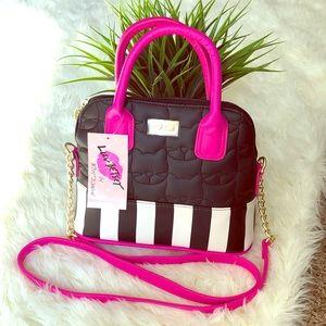 Cat embossed pink crossbody bag